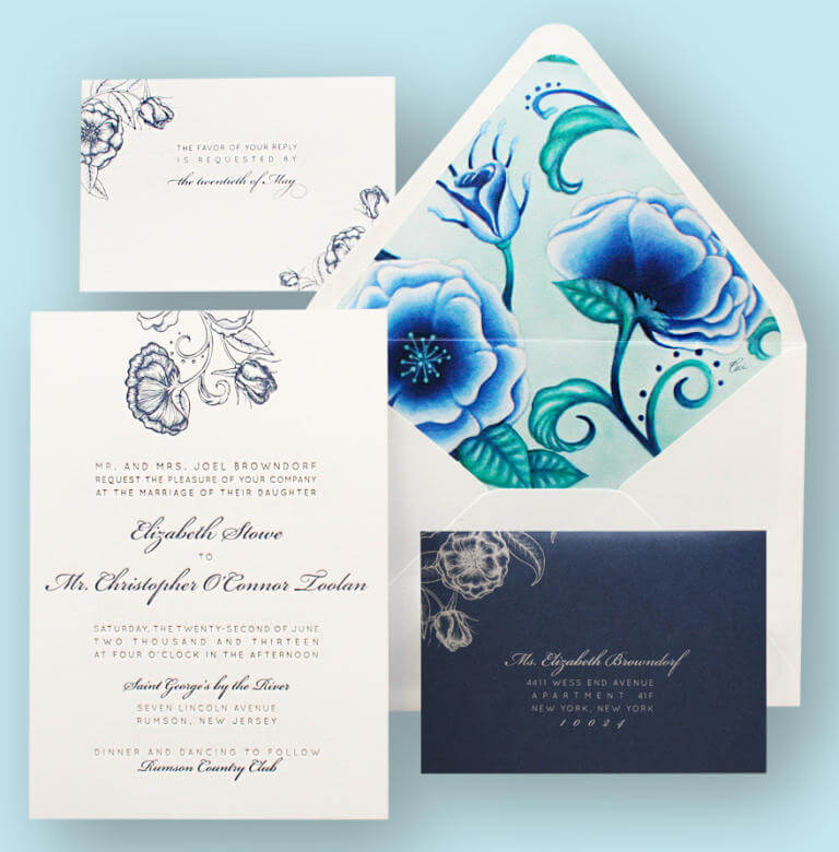 diseño del reverso del sobre de las invitaciones de boda