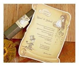 Invitación de boda papiro