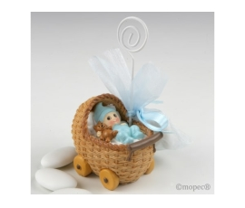 Portafoto cochecito bebé azul