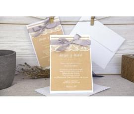Invitación de boda con encaje