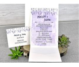 Invitación de boda lavanda