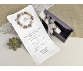 Invitación de boda pergamino con lazada