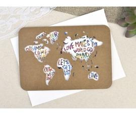 Invitación de boda mapa del mundo corte láser