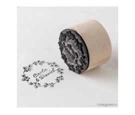 Detalle de boda sello personalizado redondo Corona de flores