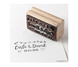 Detalle de boda sello personalizado rect.guirnalda corazones