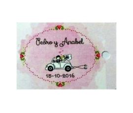 Detalle de boda lote 25 tarjetas cartón precortadas grabadas a 1 cara