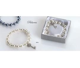 Pulsera perlas cristal colgante llave con caja