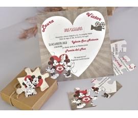 Invitacion de boda puzzle Minnie y Mickey