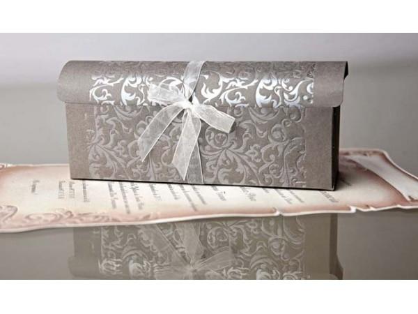 Invitación de boda caja pergamino