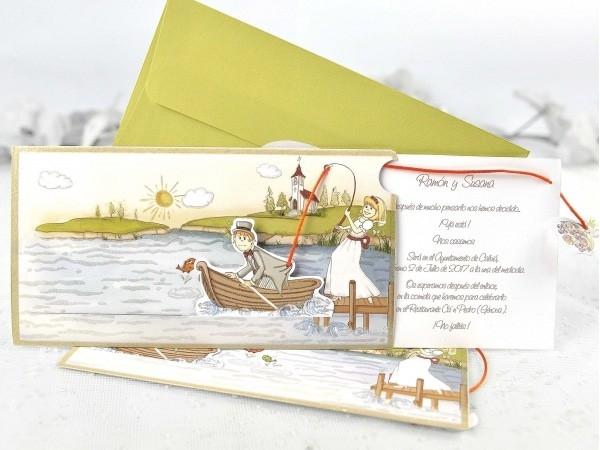 Invitación de boda pesca