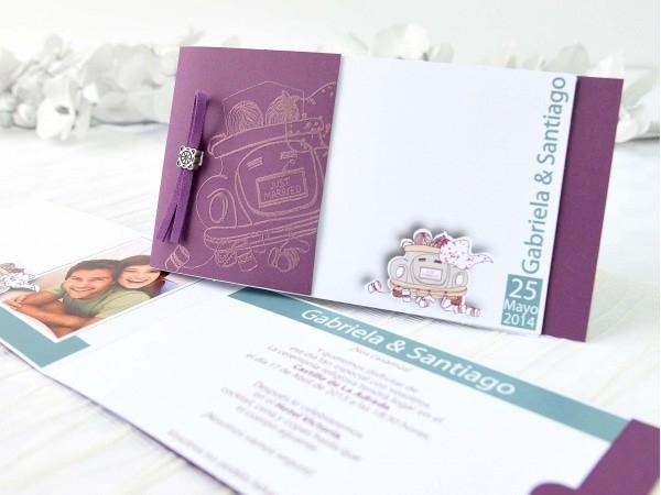 Invitación de boda coche
