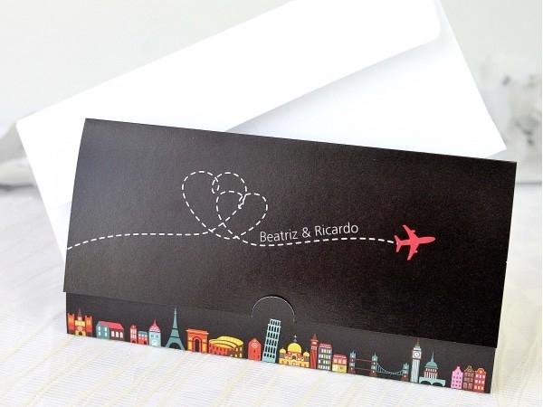 Invitación de boda billete de avión