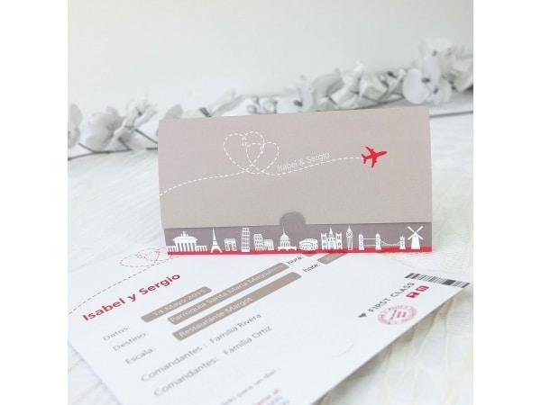 Invitación de boda billete avión
