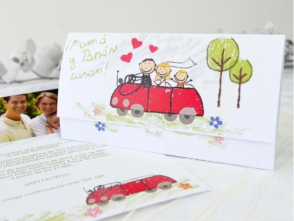 Invitación de boda dibujo infantil