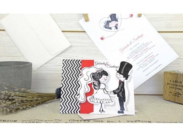 Invitación de boda muñecos
