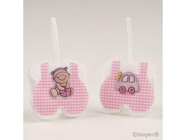 Saquito rosa cuadritos bebé/coche