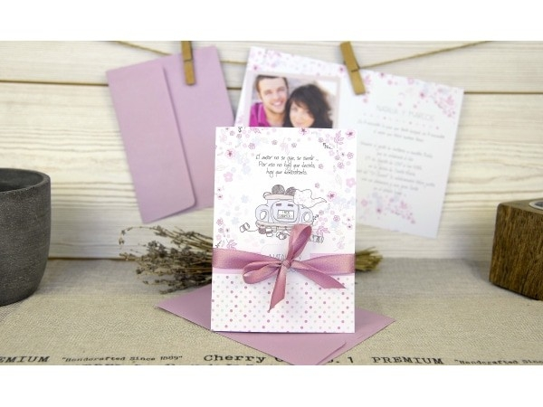 Invitación de boda rosa