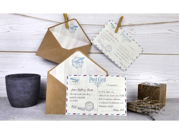 Invitación de boda post card