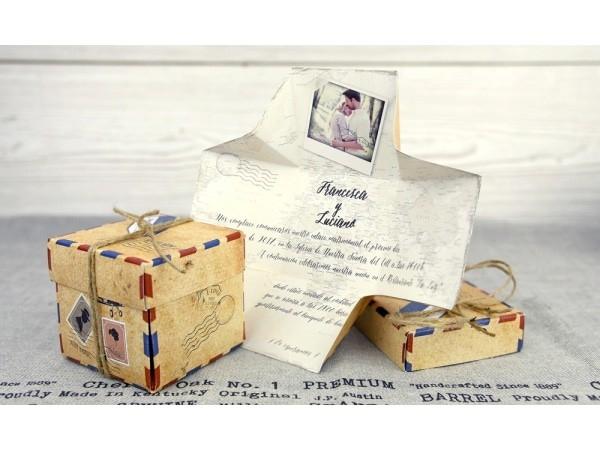 Invitación de boda caja vintage