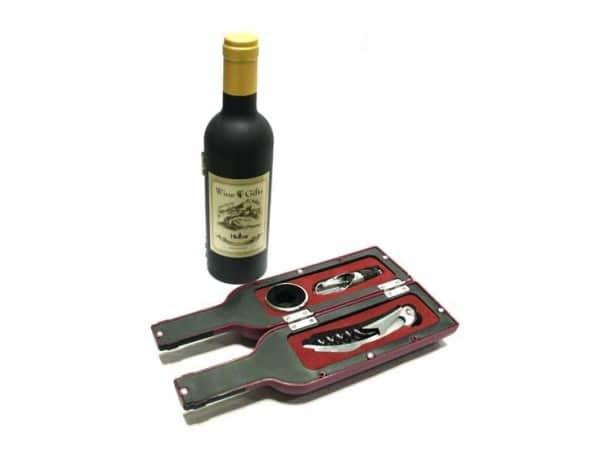Set 3 piezas forma botella vino en caja regalo