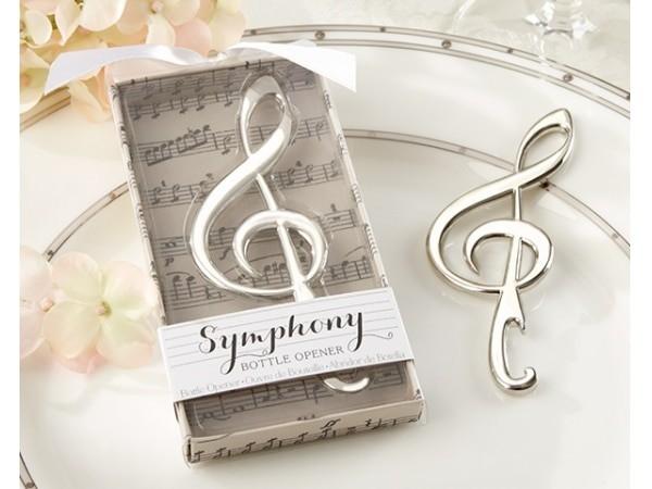 Detalle de boda abridor nota musical en caja