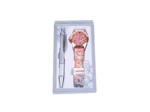 Reloj floral en caja + bolígrafo