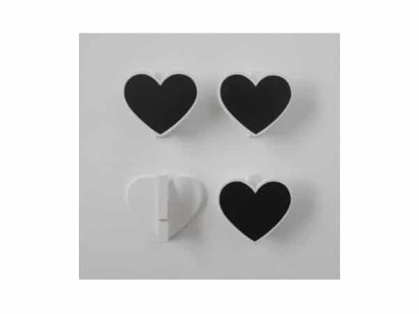 Set 4 pinza pizarra corazones