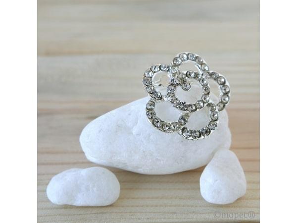 Broche flor diamantes 3 cm.(diam.) min.12