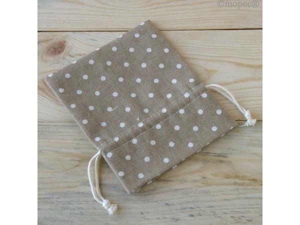 Bolsa algodón marrón topos