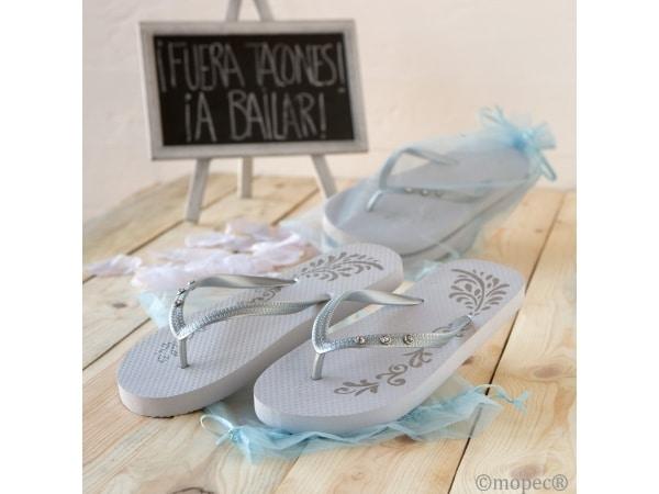 Chancleta flip flop blancas-plata