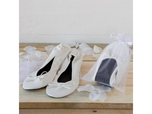 Bailarinas enrollables blancas, TALLA M