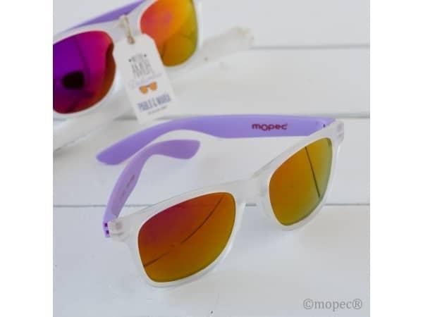 Gafas de sol efecto espejo con patilla lila