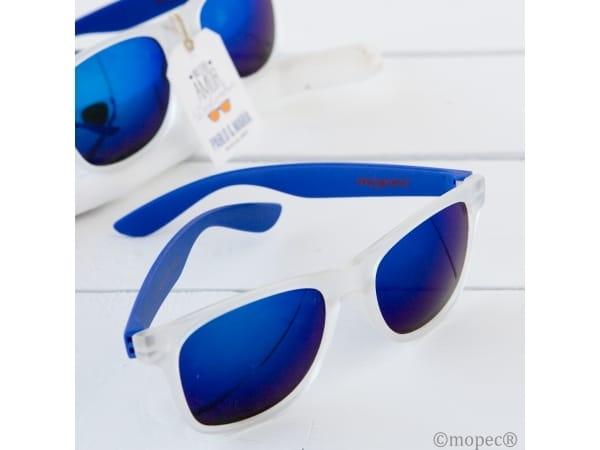 Gafas de sol efecto espejo con patilla azul