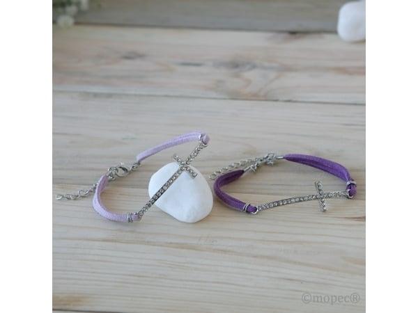 Pulsera cruz diamantes surtido color lila