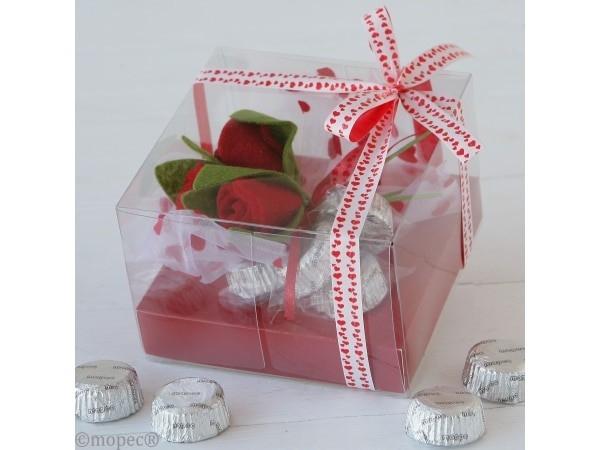 Caja 4 bombones rosas San Valentín