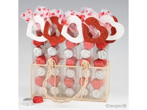 Expositor 20 estuches 6 bombones corazón