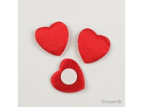Corazón 2'5 cm rasco rojo con adhesivo