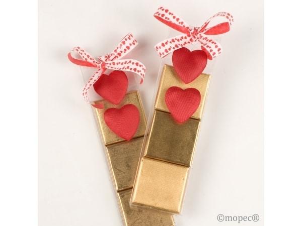 Estuche 3 chocolatinas corazón