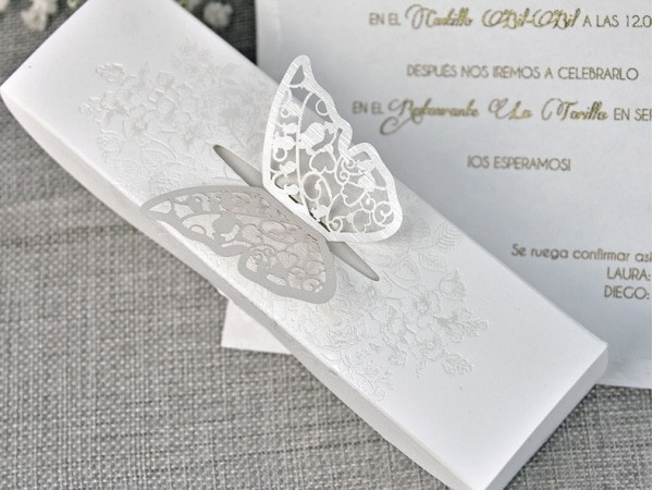 Invitación de boda mariposa Corte Láser