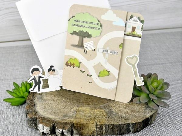 Invitación de boda família camino