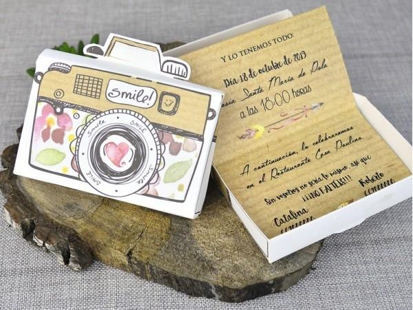 Invitación de boda cámara de fotos