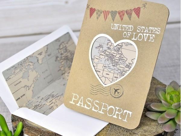 Invitación pasaporte de boda