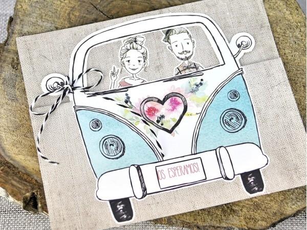 Invitación de boda furgoneta vintage