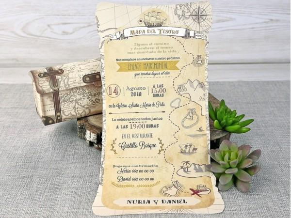 Invitación de boda mapa del tesoro