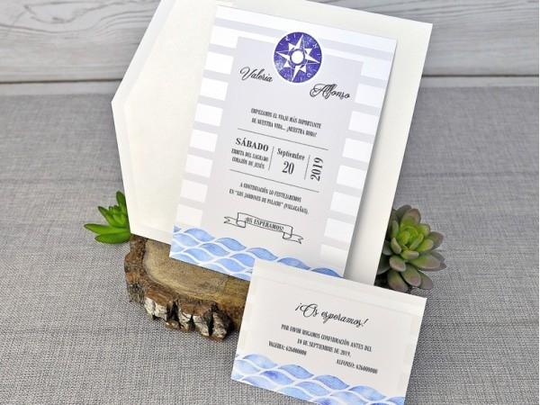 Invitación de boda estilo marinero