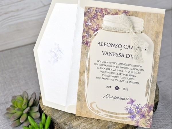 Invitación de boda tarro