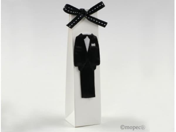 Detalle de boda estuche traje novio + 2 chocolatinas