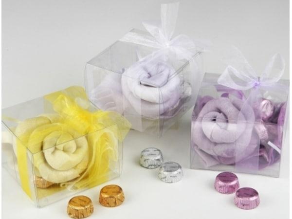 Detalle de boda foulard flor + 2  chocolatinas