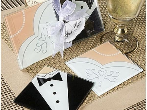 Detalle de boda set 2 posavasos cristal novios