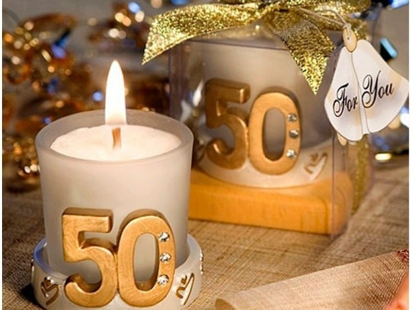 Vela boda 50 aniversario en caja regalo